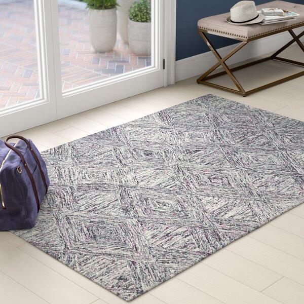 Ivy Bronx Divernon Hand Tufted Wool Charcoal Purple Area Rug Reviews Wayfair