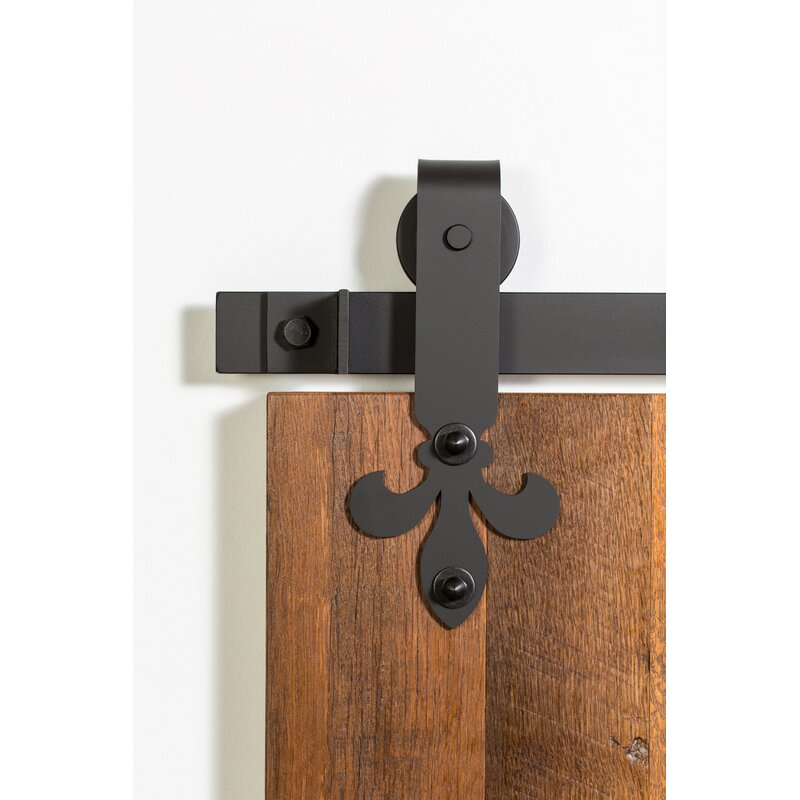 Flat Track By Leatherneck Hardware Fleur De Lis Premium Standard Single Barn Door Hardware Kit