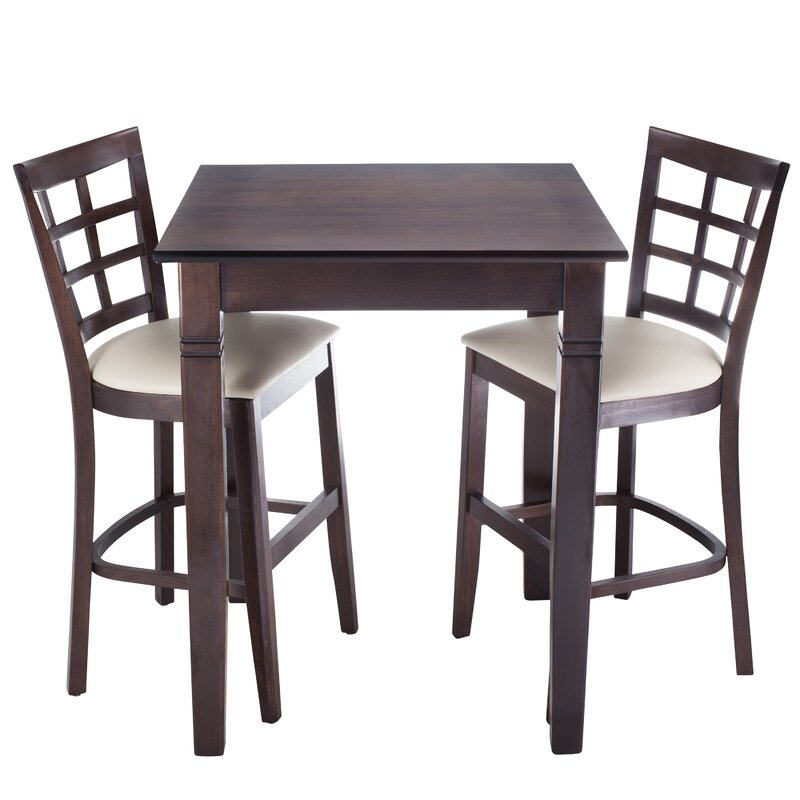 August Grove Harner 3 Piece Counter Height Pub Table Set  Color: Walnut