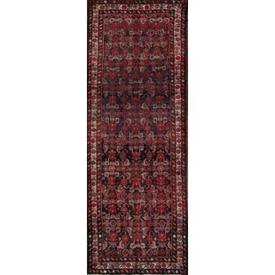 Great choice One-of-a-Kind Janes Traditional Malayer Hamedan Persian Hand-Knotted Runner 3'7 x 9'9 Wool Burgundy/Black Area Rug By Isabelline