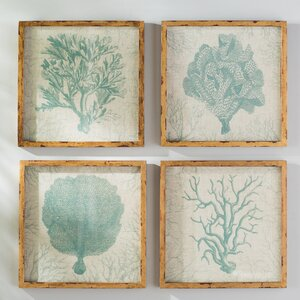Berwick 'Coral' 4 Piece Framed Painting Print Set