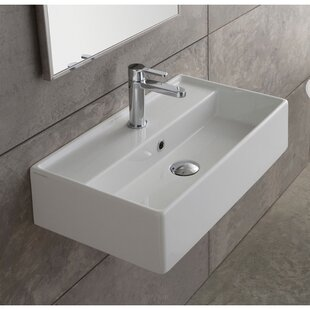 Read Reviews Teorema Ceramic 16 Wall Mount Bathroom Sink with Overflow By Scarabeo by Nameeks