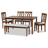 Sauter 6 - Piece Rubberwood Solid Wood Dining Set by Alcott Hill®