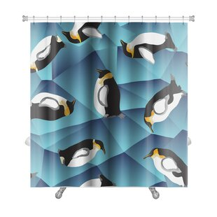 Animals Abstract Crystal Ice with Penguins, Pattern Premium Single Shower Curtain