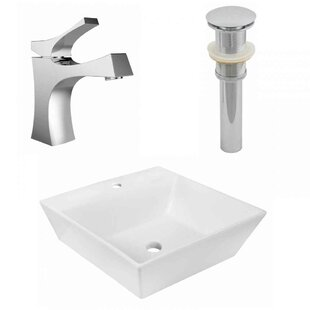 Best Deals Ceramic Square Vessel Bathroom Sink with Faucet ByAmerican Imaginations