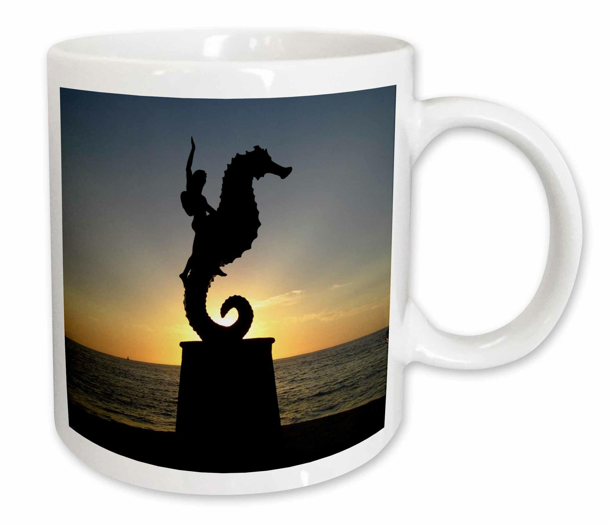East Urban Home Puerto Vallarta Malecon Boy On Seahorse Statue Silhouetted Against Sunset Coffee Mug Wayfair