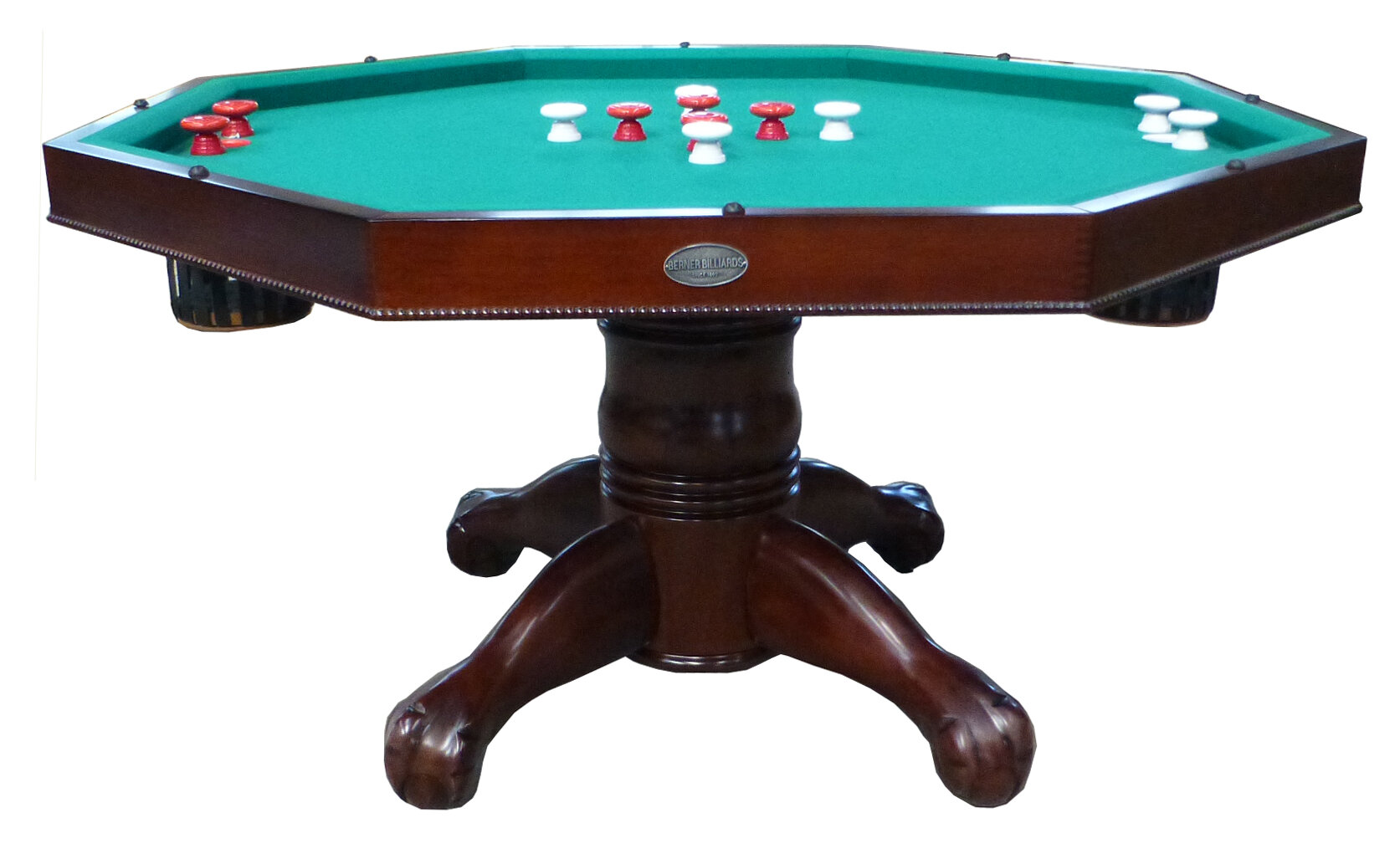 BUMPER POOL TABLE in WALNUT w//CUES /& BALLS /& SLATE BED by BERNER BILLIARDS ~ NEW