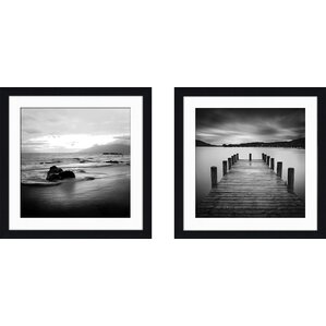 'Jetty' 2 Piece Framed Photographic Print Set. '
