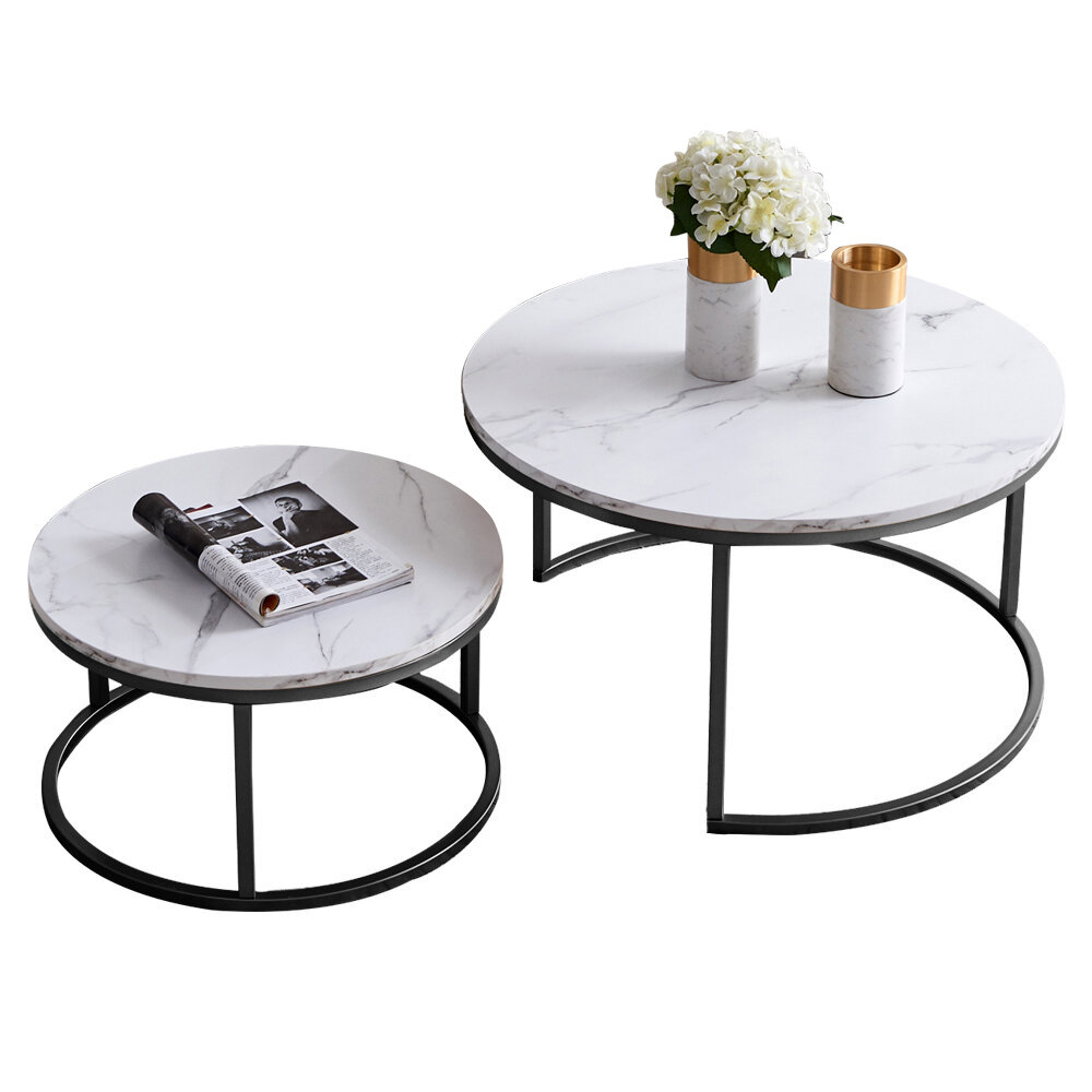 Orren Ellis Modern Round Nesting Coffee Tableset Of 2 Side Table For Living Room Balcony Home And Office Black Frame With Wood Top 32 Reviews Wayfair Ca