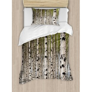 East Urban Home Tree Nature Theme Design Birch Trees with Leaves in Spring Pattern Tranquil Forest Digital Print Duvet Set