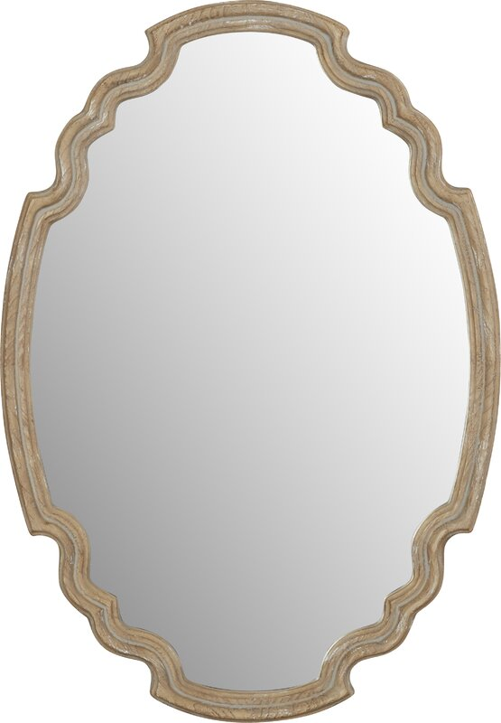 Wood Accent Mirror.  Come see 15 Lovely European Country Inspired Decorating Ideas for Home!#FrenchCountry #Frenchmirror #ovalmirror