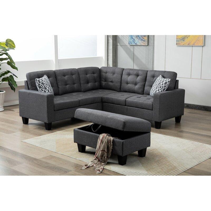 Ebern Designs Butcher Sectional Sofa With Ottoman Reviews Wayfair