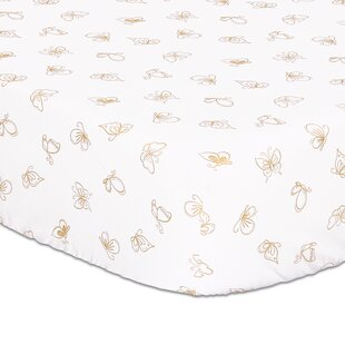 Gold Butterfly Fitted Crib Sheet ByThe Peanut Shell