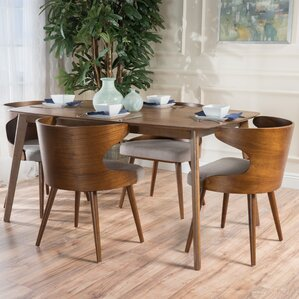 Camille 5 Piece Walnut Mid Century Dining Set by Langley Street