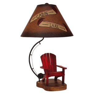 Matteo Adirondack Chair with Fly Rod Cabin and Lake 28 Table Lamp