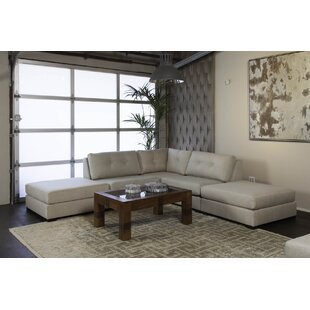Glaude Buttoned L-Shape Modular Sectional with Double Ottoman