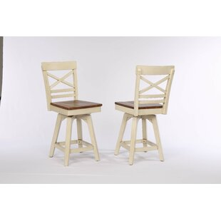 Yvonne X Back 2 Tone Swivel Bar Stool (Set of 2) Gracie Oaks