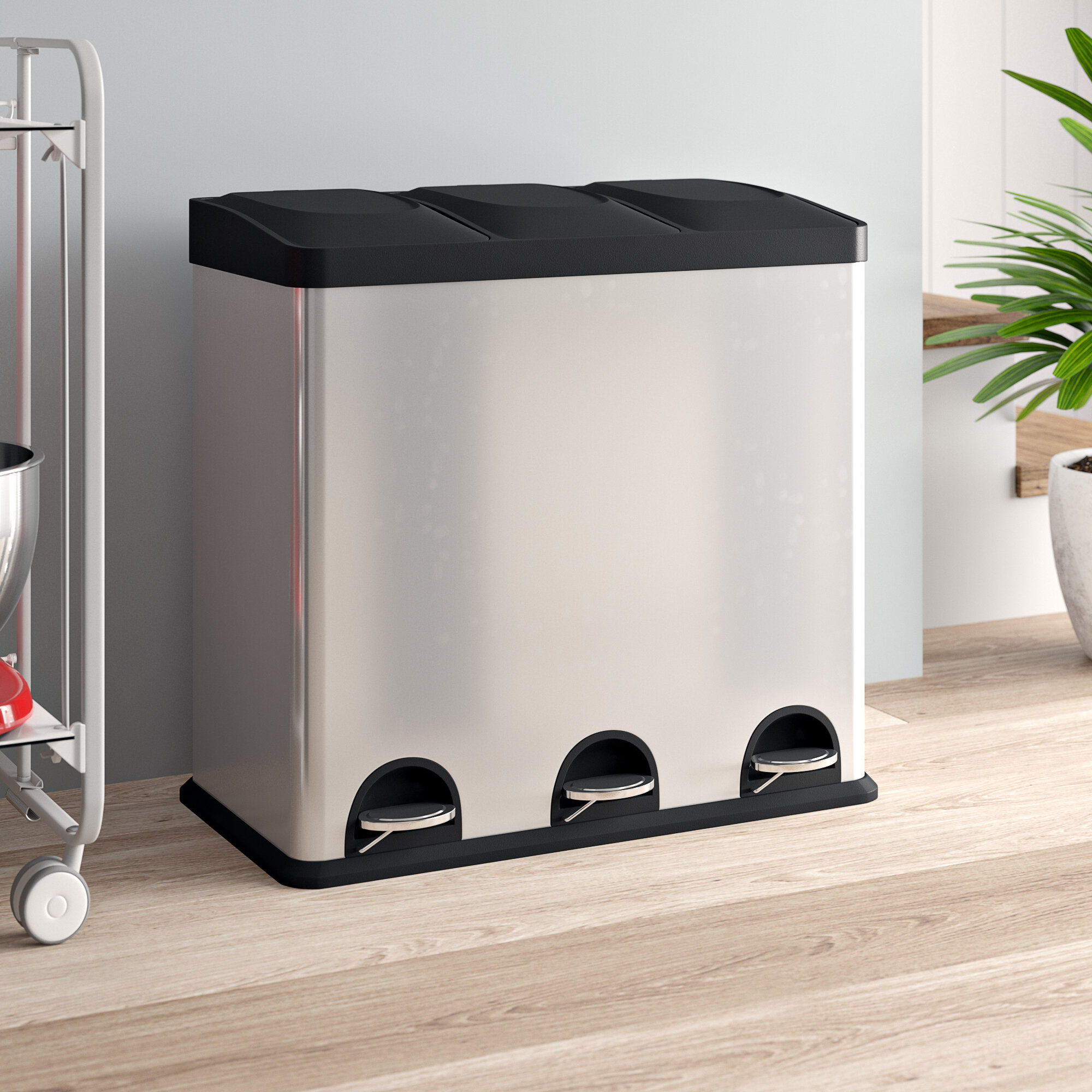 Kitchen Stainless Steel 54 Litre Step On Multi-Compartments Rubbish and  Recycle Bin