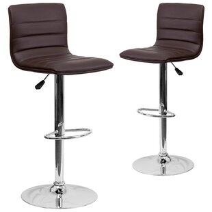 Ben Adjustable Height Swivel Bar Stool (Set of 2) Wrought Studio