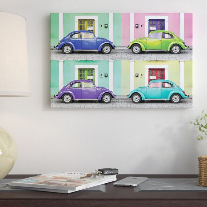 Blue Car City Landscape Art Large Poster Classic VW Beetle Canvas Pictures