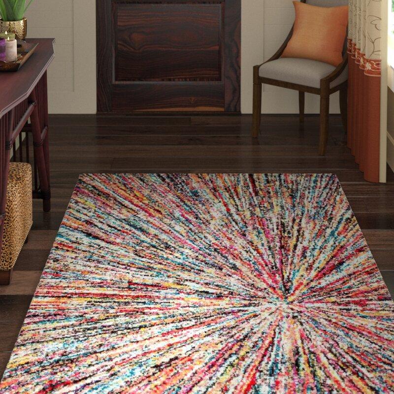 Think Rugs Sunrise Modern Bright Splash Design Stain Resistant Multi Carpet Rugs