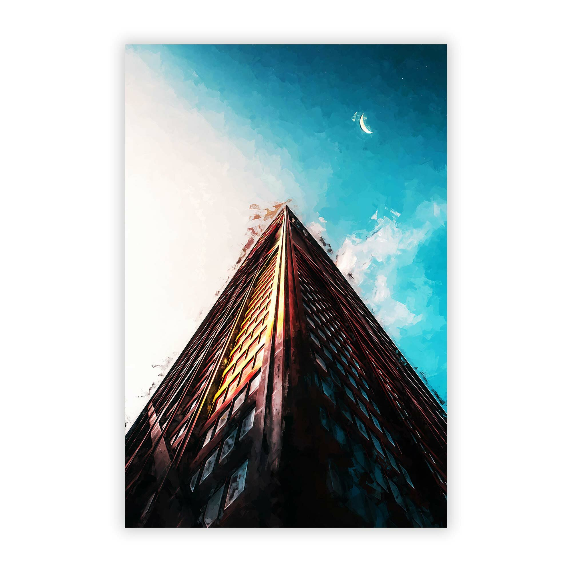 Big Box Art Moon Above The Architecture Unframed Graphic Art Print On Paper Wayfair Co Uk