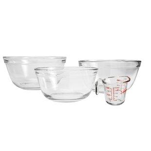 Glass 4 Piece Mixing Bowl Set (Set of 4)