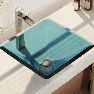 Best Deals Glass Square Vessel Bathroom Sink with Faucet ByRené By Elkay