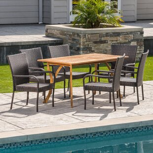 Hephaestus Outdoor Acacia Wood/Wicker 7 Piece Dining Set