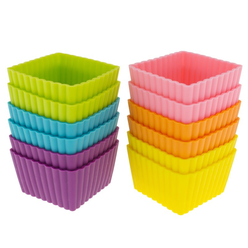 Freshware Silicone Mini Square Reusable Cupcake And Muffin Baking Cup Reviews Wayfair
