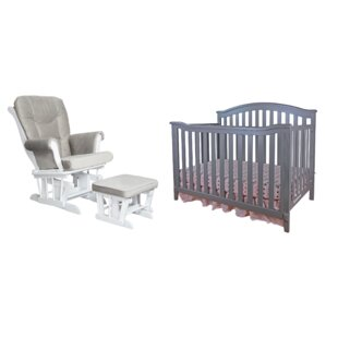 Brompton 4 In 1 Convertible Crib And Glider Set