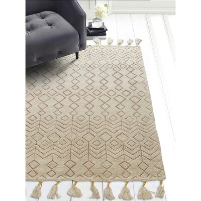 World Menagerie Ilfracombe Hand-Tufted Wool Terracotta Area Rug Rug Size: Rectangle 3' x 5'