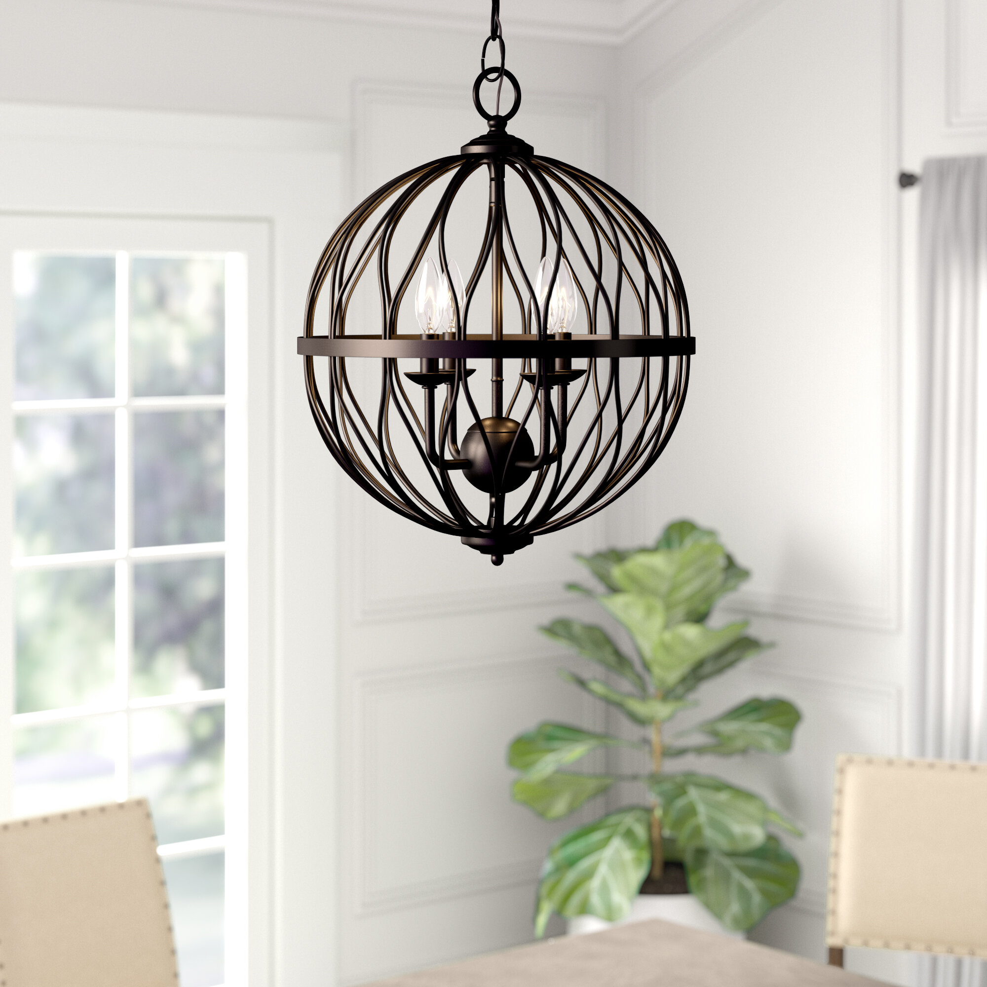 Chandelier Wood Bead Candle Bronze Style Dimmable Indoor 3 Light