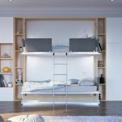 Brayden Studio Gerry Twin Over Twin Murphy Bed Color: Gloss White and Light Wood