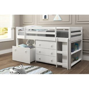 Renley Twin Low Loft Bed with Drawer and Bookcase by