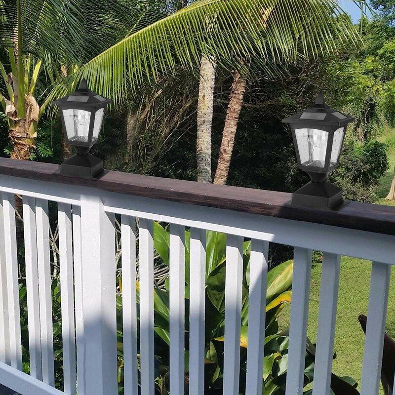 Winston Porter Adler Solar Powered 1-Light Pier Mount Light ... on backyard platforms, backyard signs, backyard gazebos,