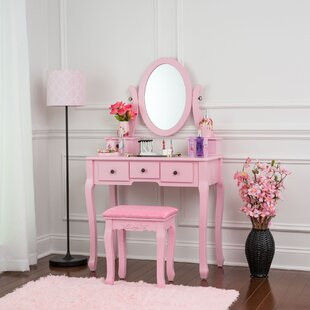 House of Hampton Tod Vanity Set with Mirror
