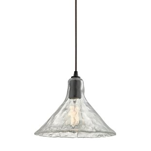 Compare prices Manske Hand Formed Glass 1-Light Cone Pendant By Gracie Oaks