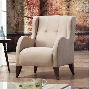 Danos Modern Nubuck Wingback Chair by Brayden Studio