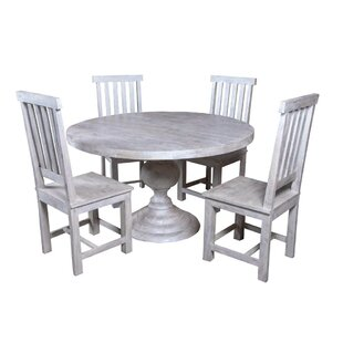 Jone Round Table 5 Piece Solid Wood Dining Set