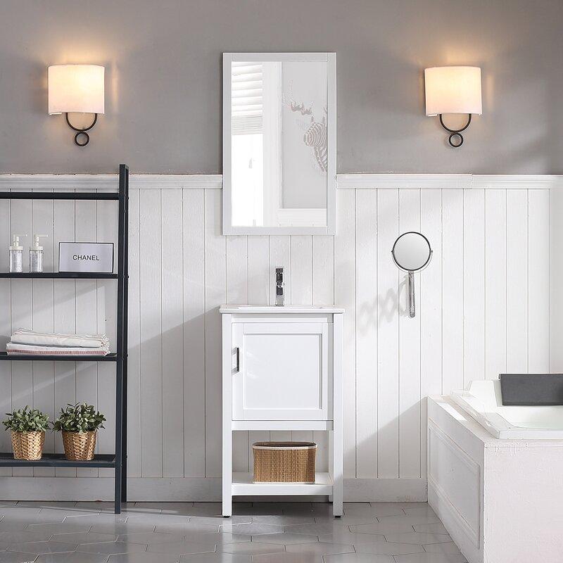 "Mattis 20"" Wall-Mounted Single Bathroom Vanity Set with Mirror"