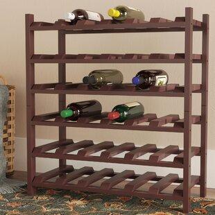 Red Barrel Studio Karnes Pine Stackable 36 Bottle Floor Wine Rack
