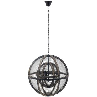 Gracie Oaks Dayse Rustic Oak Wood 3-Light Globe Pendant