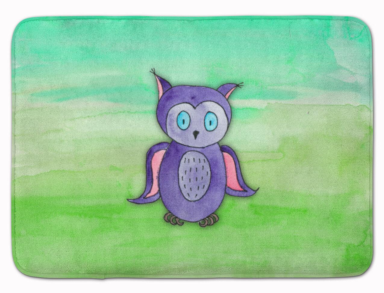 Zoomie Kids Zachary Owl Watercolor Rectangle Microfiber Non Slip Bath Rug Wayfair
