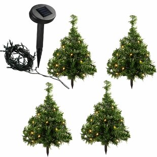 35cm christmas tree with 10 warm white led solar powered lighted display set of 5 - Wayfair Outdoor Christmas Decorations