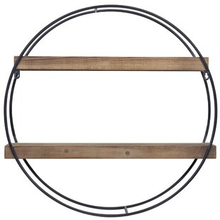 Gracie Oaks Maisha Round Metal and Wood Wall Shelf