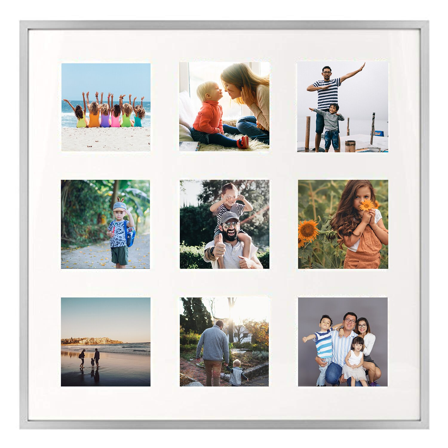 Latitude Run 16x16 Gold Aluminum Metal Frame With Ivory Mat Displays Nine 4x4 Photos Square Collage Frame Real Glass Sawtooth Hanger Swivel Tabs Wall Mounting Landscape Portrait Reviews Wayfair Ca