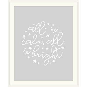 'All is Calm, All is Bright Light Gray' Inner Circle Textual Art