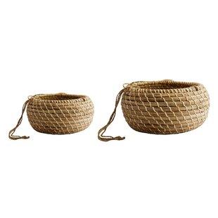 Brentwood 2 Piece Natural Fibre Hanging Basket Set By Freeport Park