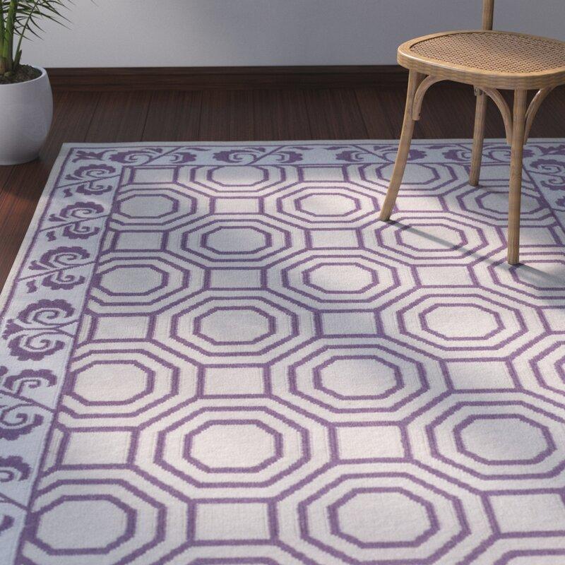 Bay Isle Home Morehead Geometric Handwoven Wool Dark Purple Light Gray Area Rug Wayfair